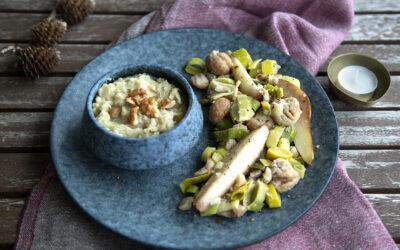 Festliches Gemüse mit Sellerie-Kartoffel-Nussmus